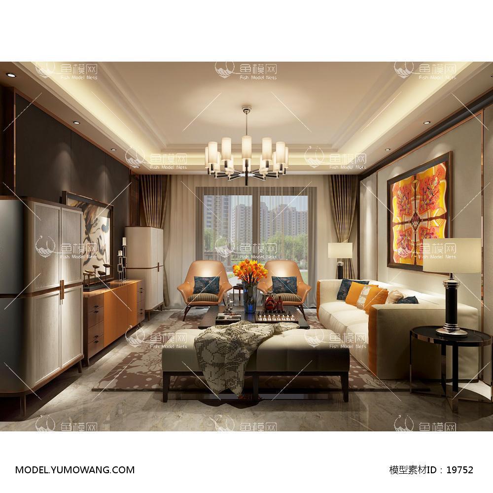 现代简洁大气有格调的客厅73d模型
