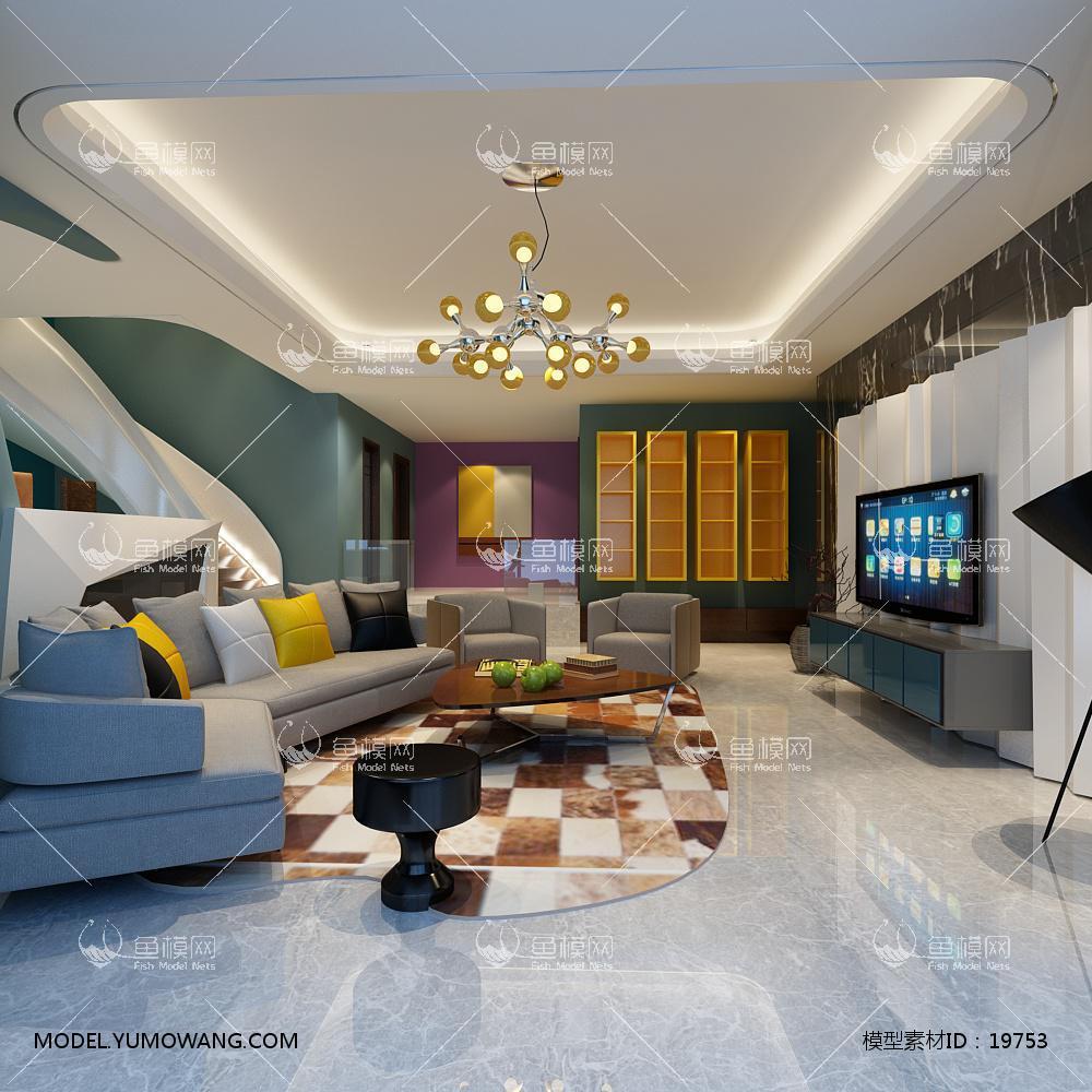 现代简洁大气有格调的客厅83d模型