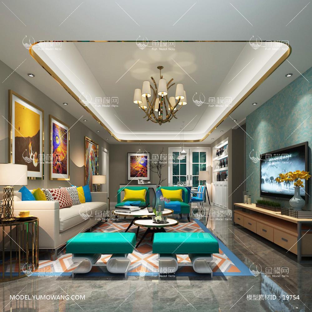 现代简洁大气有格调的客厅93d模型