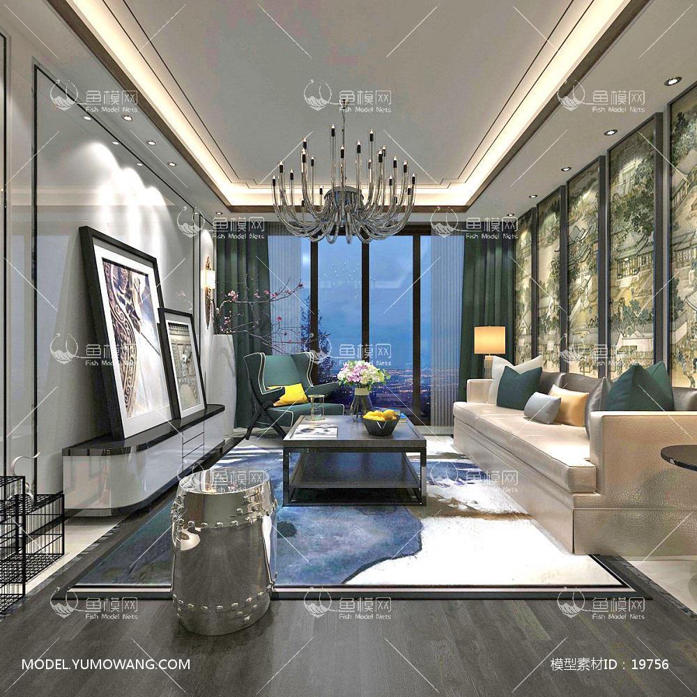 新中式时尚和古韵并存的客厅13d模型