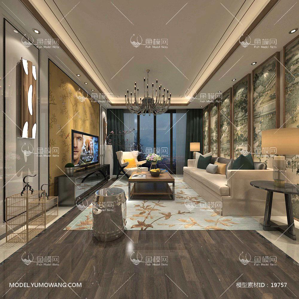 新中式时尚和古韵并存的客厅23d模型