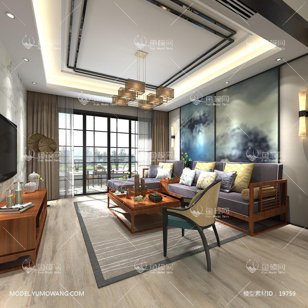 新中式时尚和古韵并存的客厅43d模型