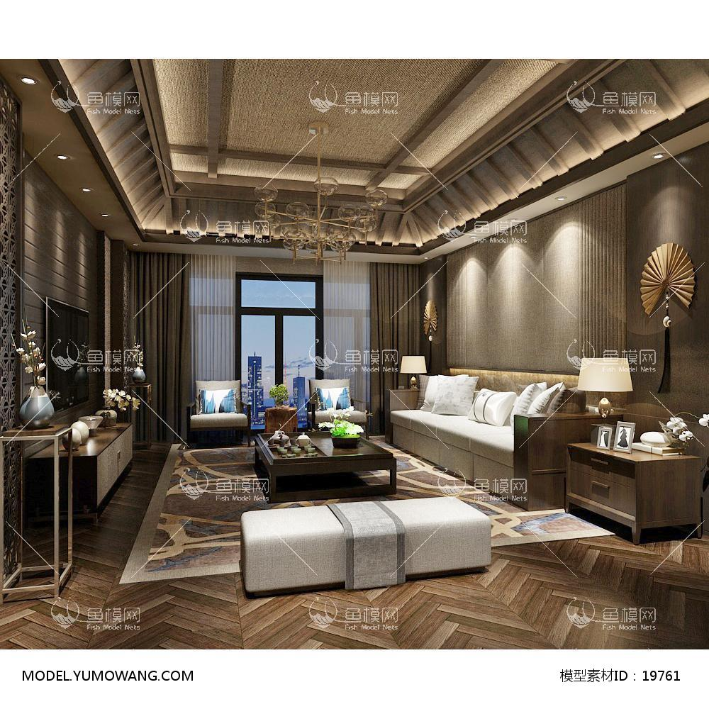 新中式时尚和古韵并存的客厅93d模型