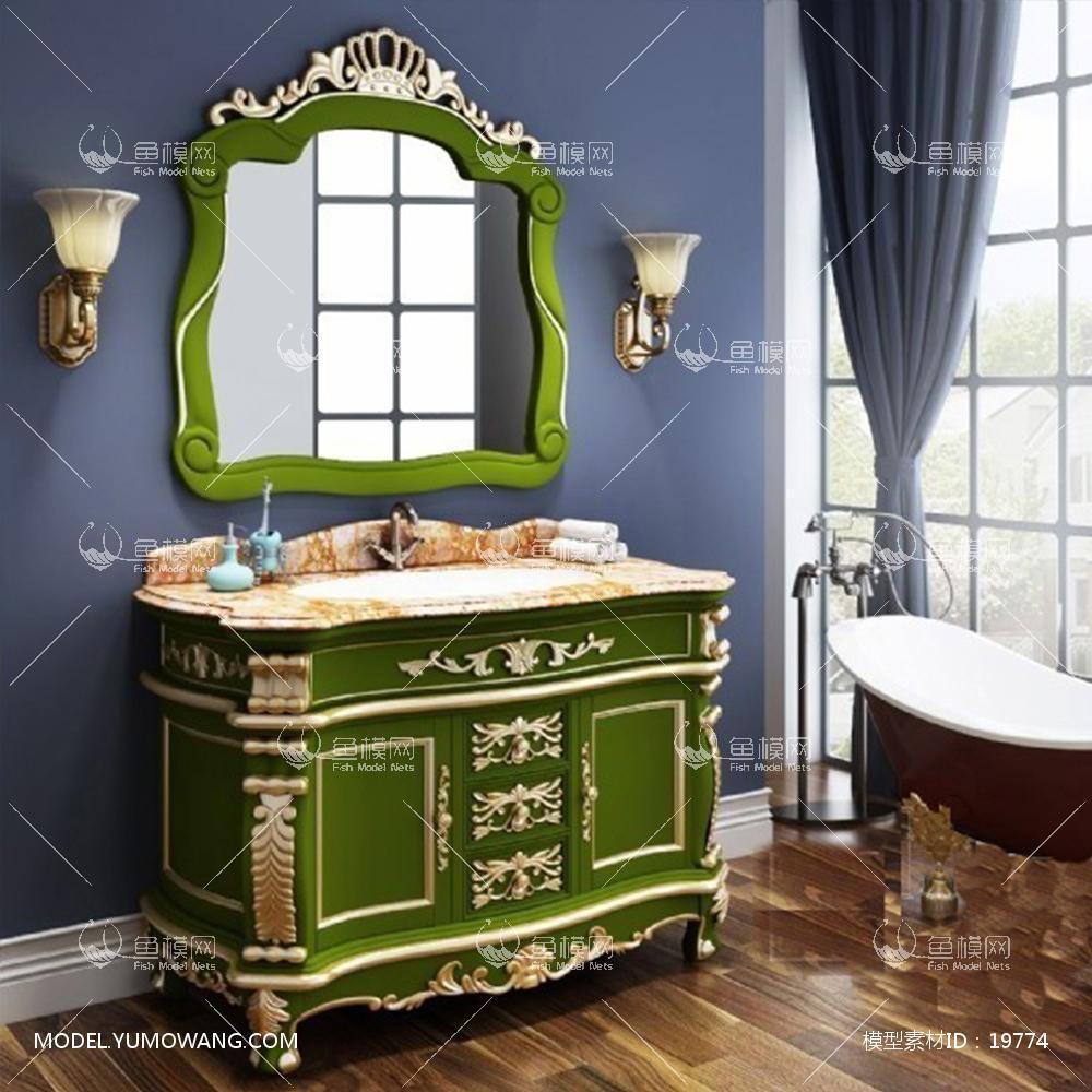 欧式整体雕花浴室柜台盆雕花镜组合原创3d模型