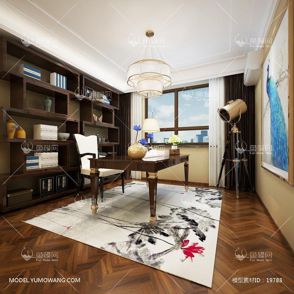 新中式温馨舒适的书房 (5)3d模型