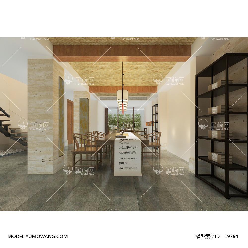 新中式温馨舒适的书房 (6)3d模型