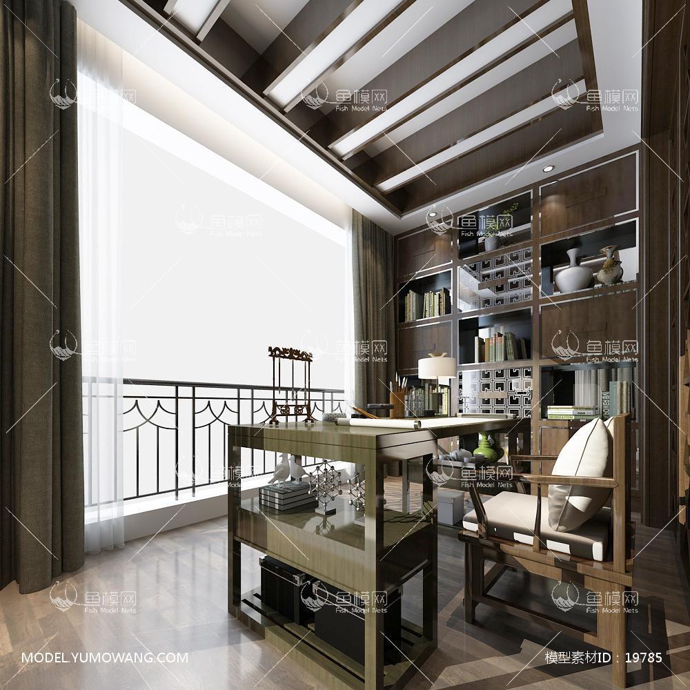 新中式温馨舒适的书房 (7)3d模型