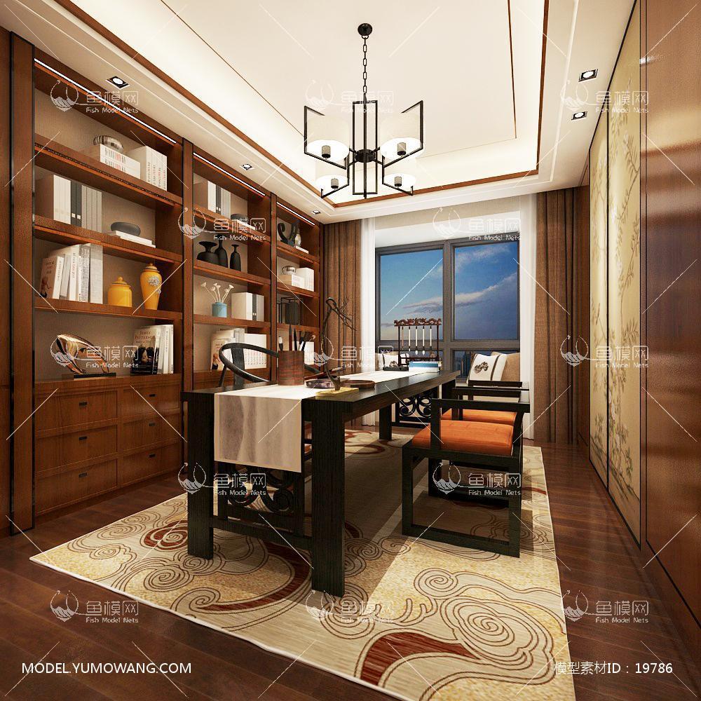 新中式书房 3d模型