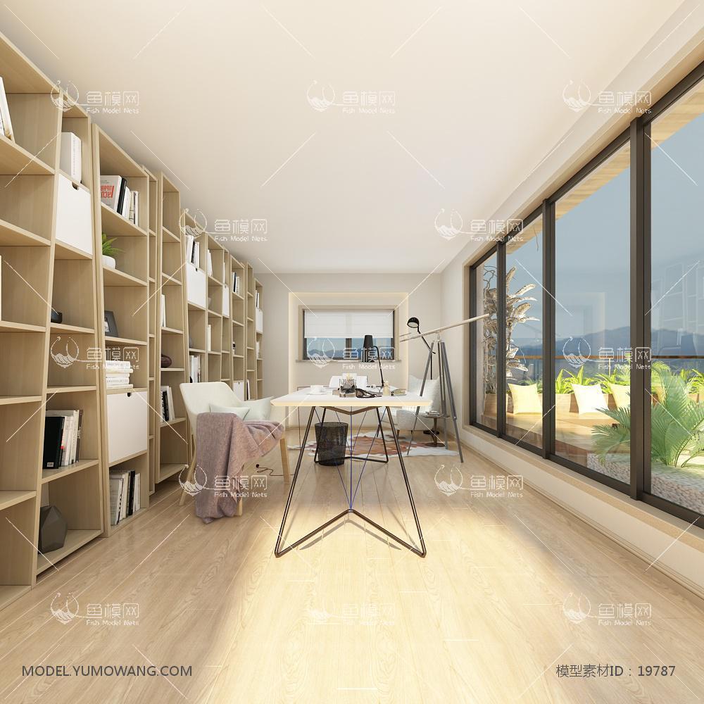 现代温馨舒适的书房 (1)3d模型