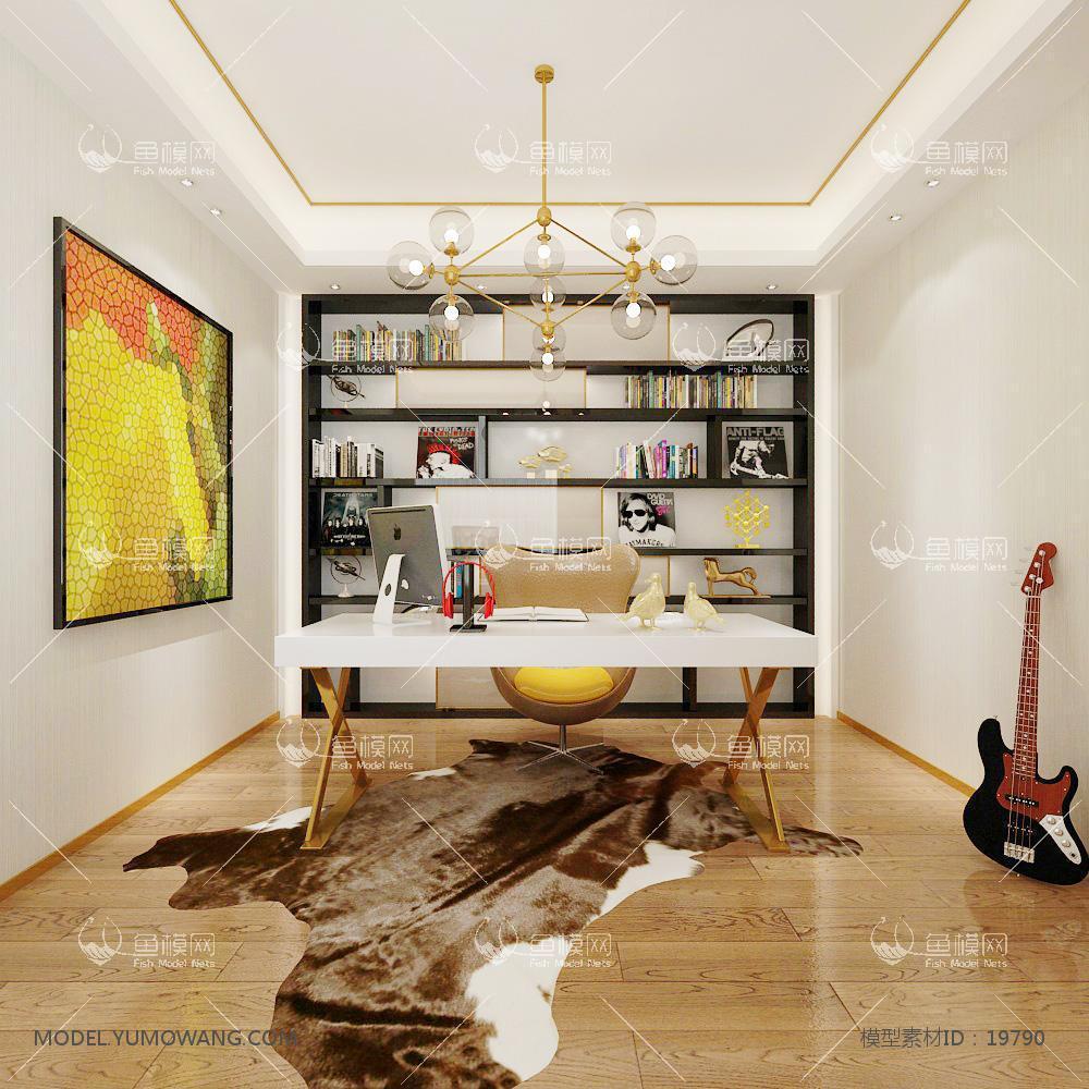 现代温馨舒适的书房 (4)3d模型