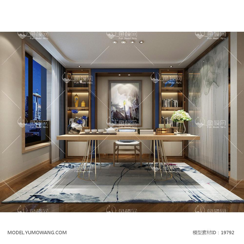 新中式温馨舒适的书房 (1)3d模型