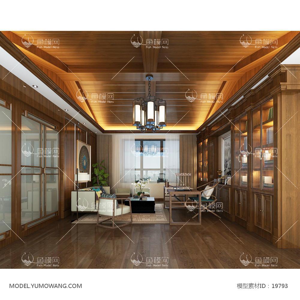 新中式温馨舒适的书房 (2)3d模型