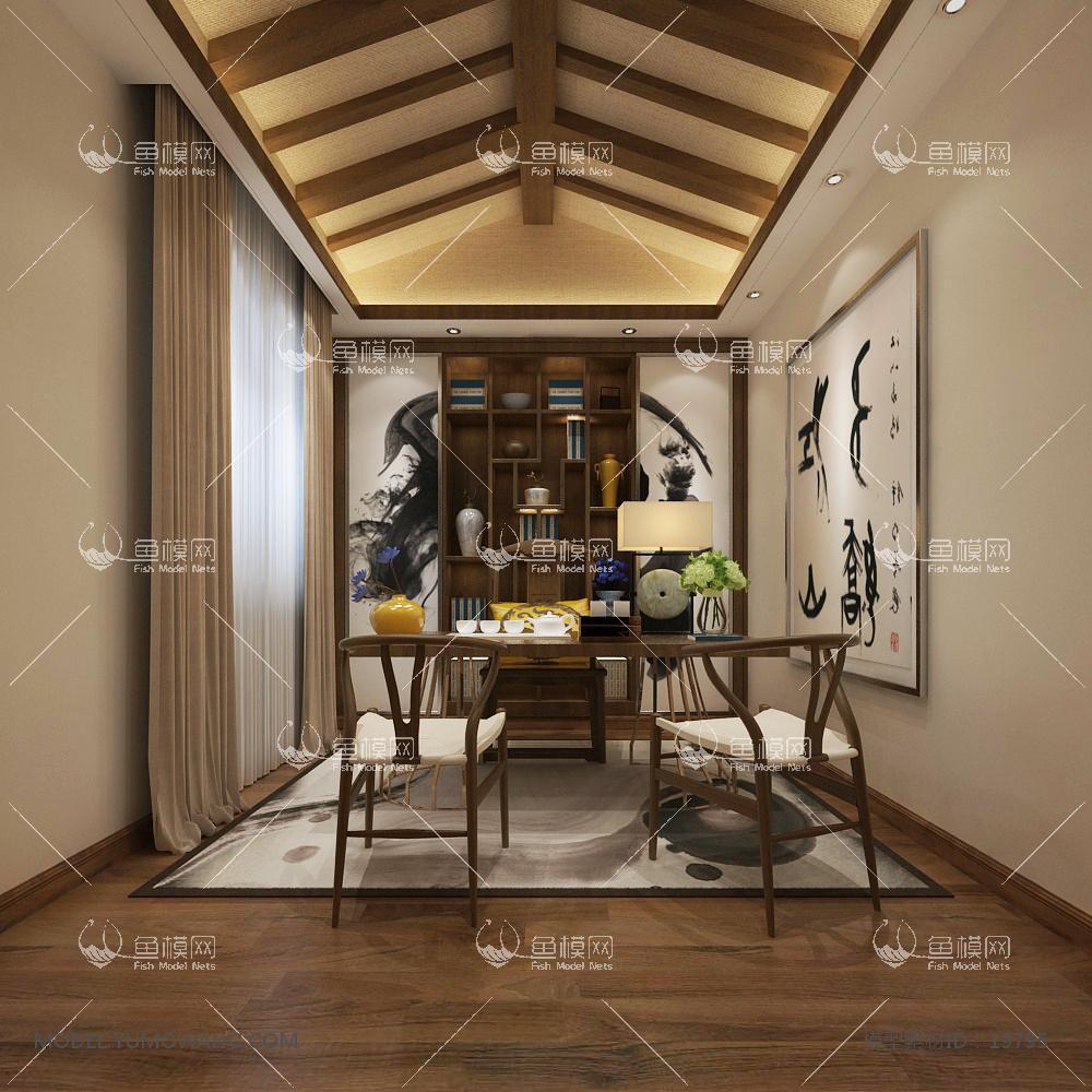 新中式温馨舒适的书房 (4)3d模型