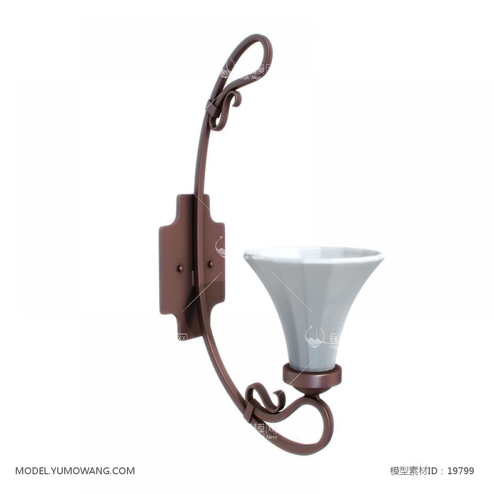 美式风格壁灯 (1)3d模型