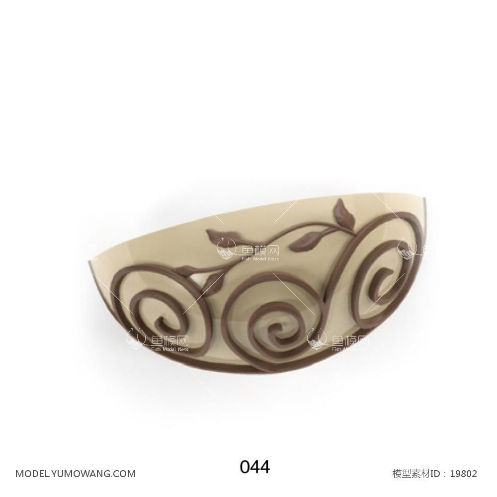 半圆花纹壁灯3d模型
