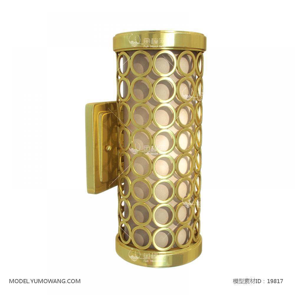黄色金属圆圈筒状壁灯3D模型下载-[ID]19817