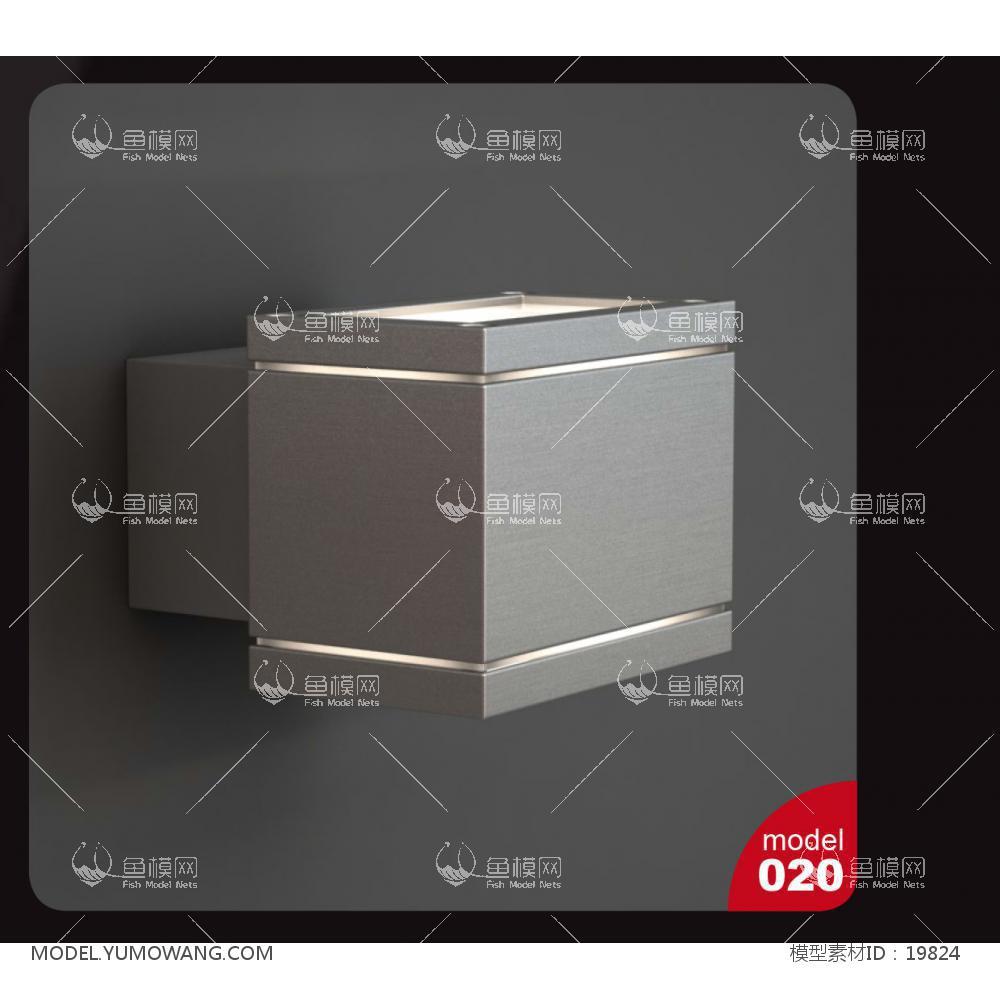 现代风格金属方形壁灯3d模型