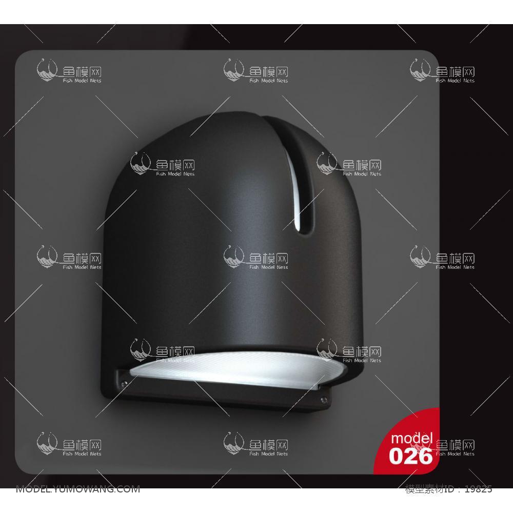 现代风格金属黑色壁灯3d模型