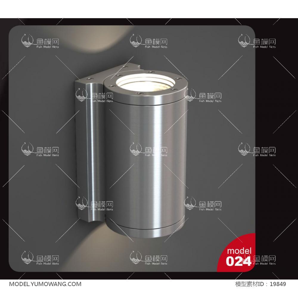 现代金属圆柱形壁灯 (4)3d模型