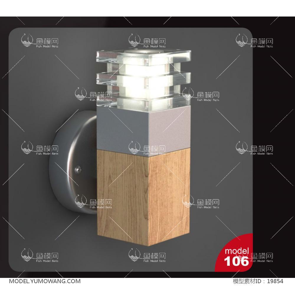 现代木质壁灯 (2)3d模型