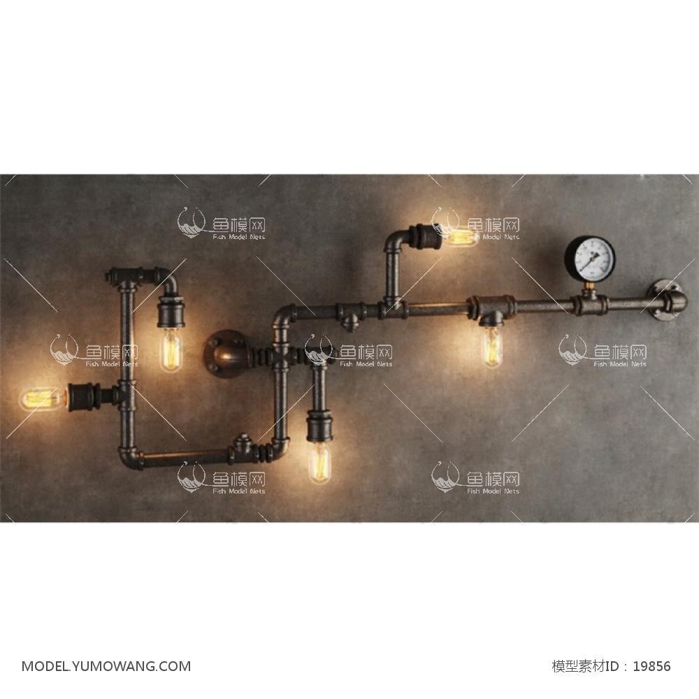 工业水管装饰壁灯3D模型下载-[ID]19856