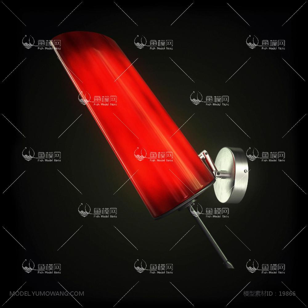 现代风格红色壁灯3d模型