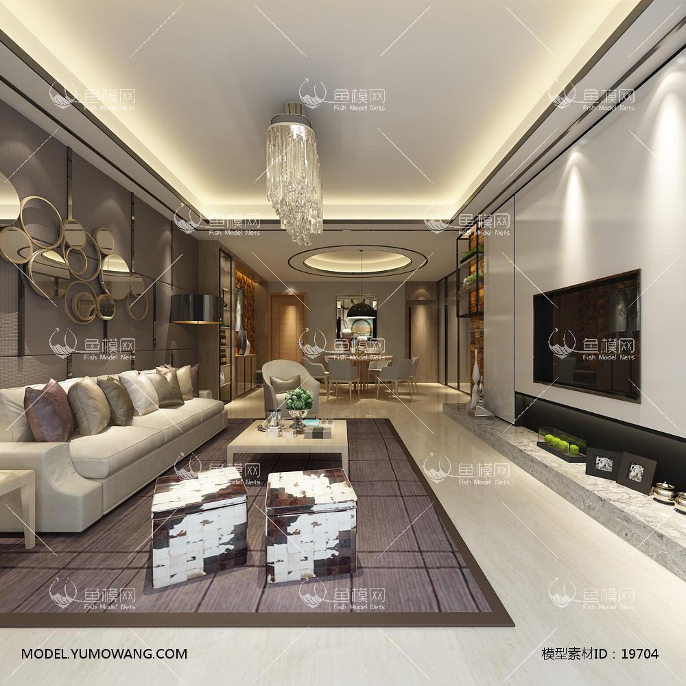 现代简洁大气有格调的客厅463d模型