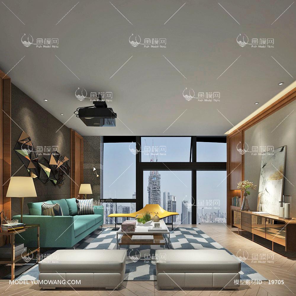 现代简洁大气有格调的客厅483d模型