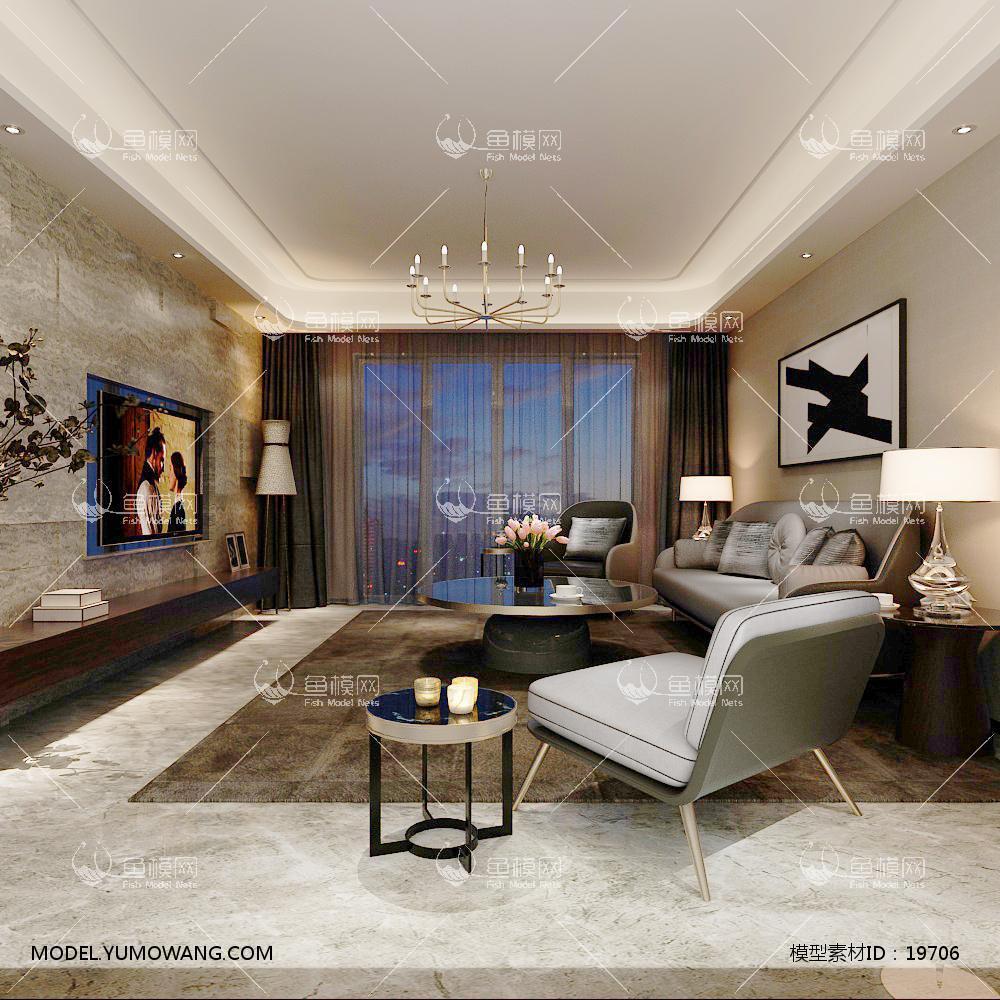 现代简洁大气有格调的客厅493d模型