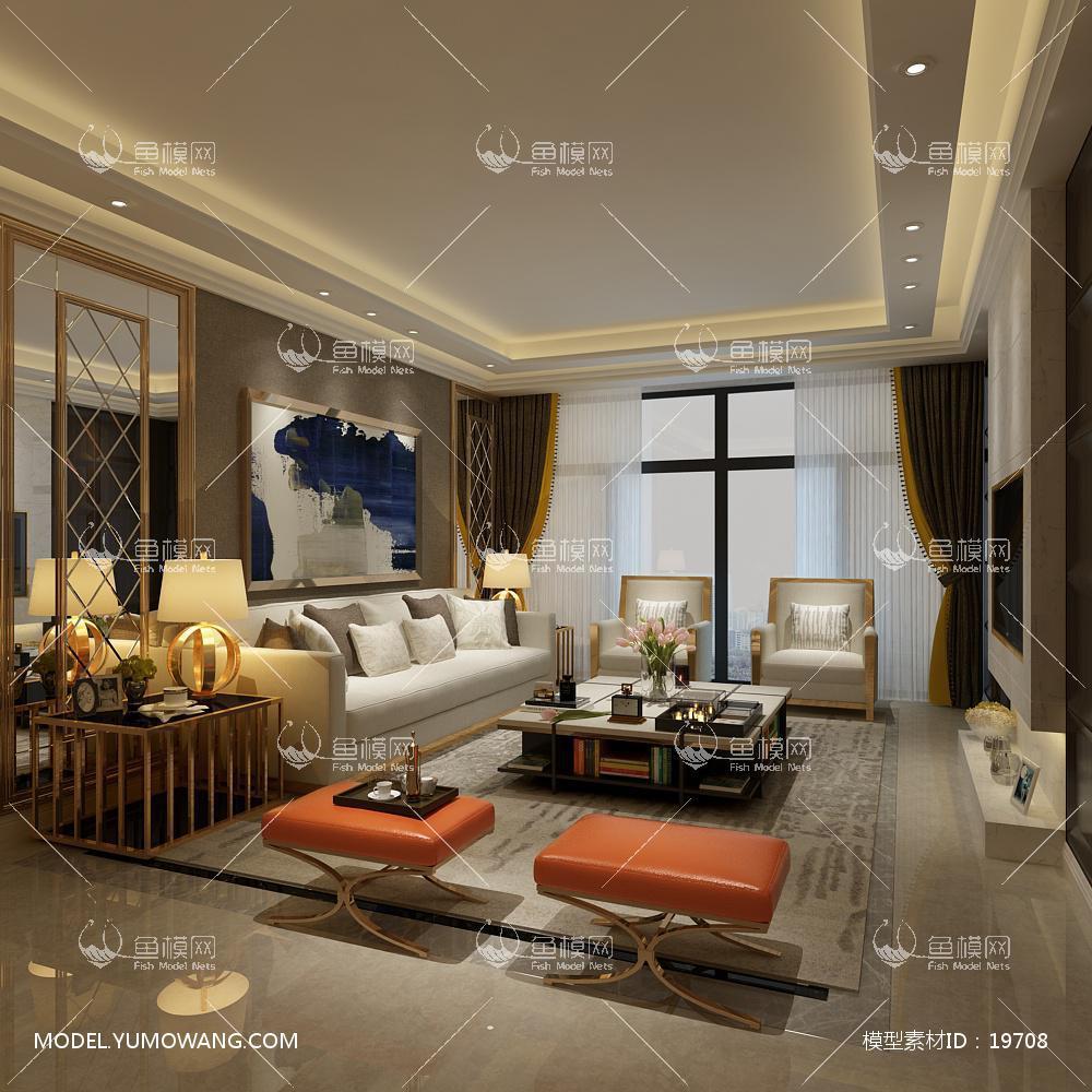 现代简洁大气有格调的客厅503d模型