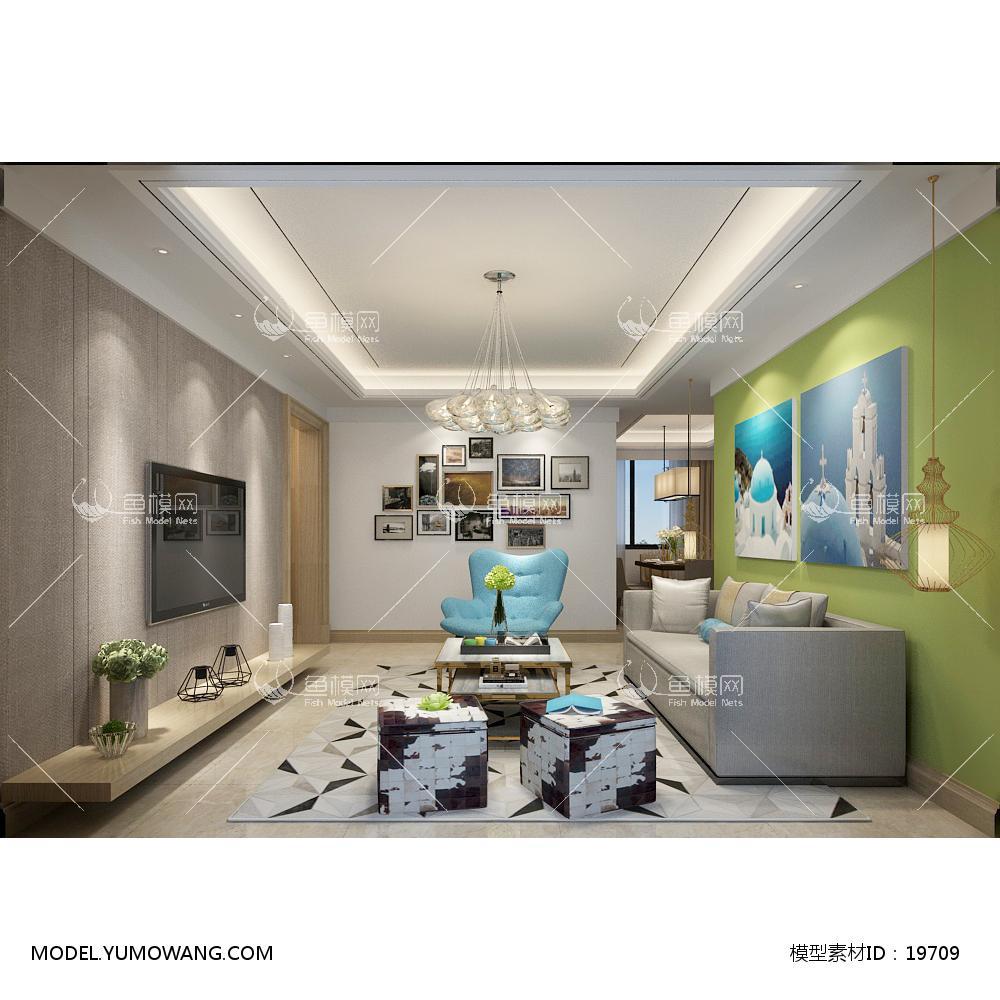现代简洁大气有格调的客厅513d模型