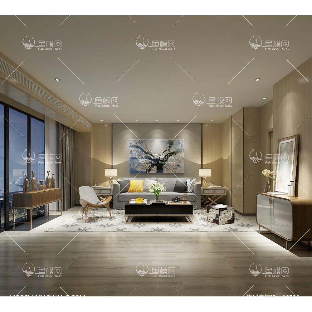 现代简洁大气有格调的客厅523d模型