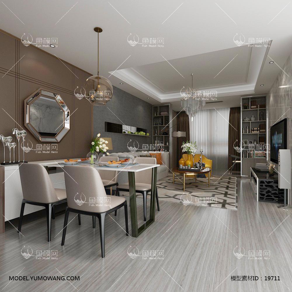 现代简洁大气有格调的客厅533d模型