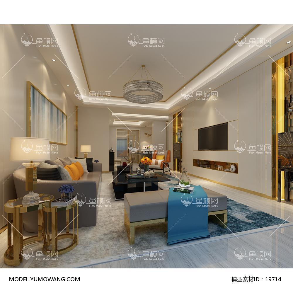 现代简洁大气有格调的客厅563d模型