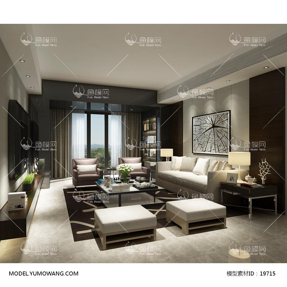 现代简洁大气有格调的客厅573d模型