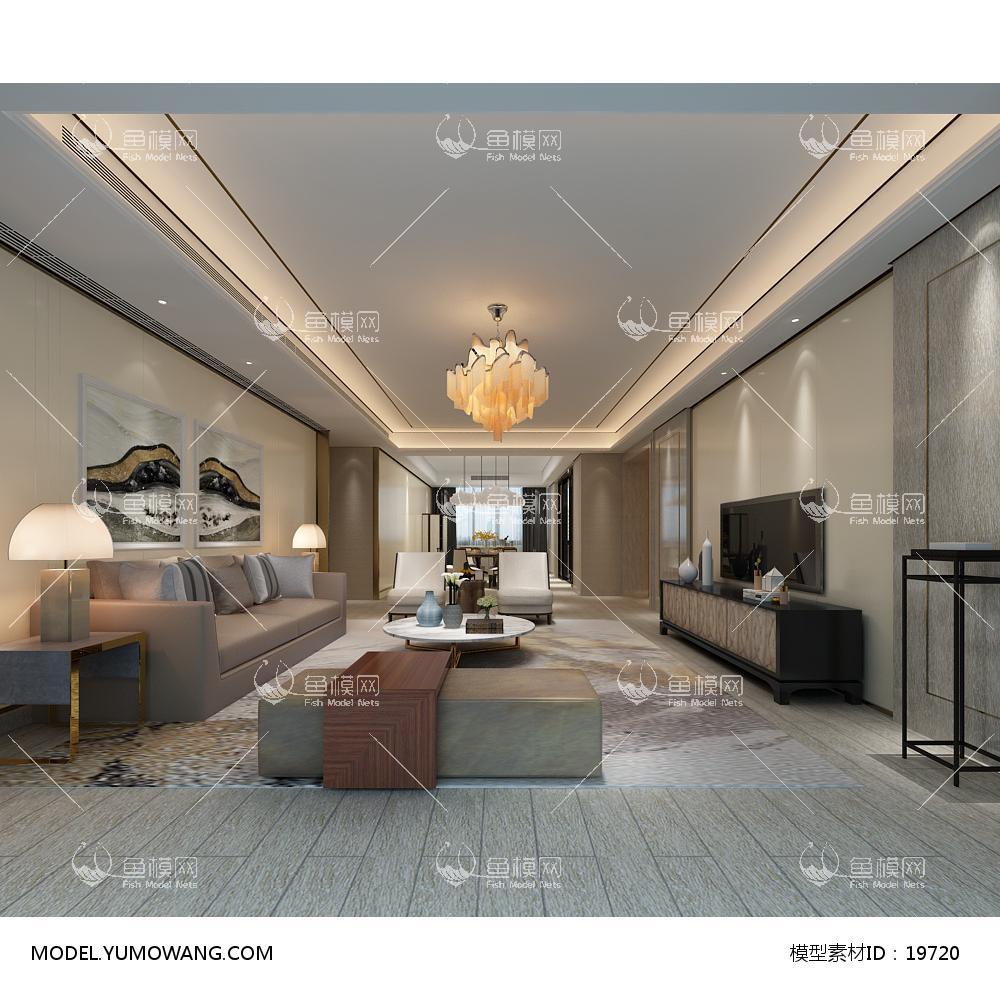 现代简洁大气有格调的客厅633d模型