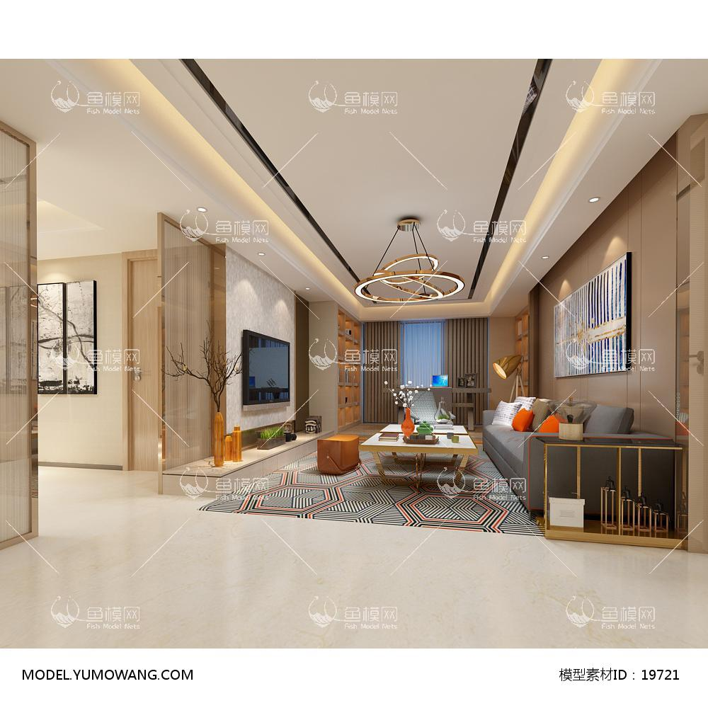 现代简洁大气有格调的客厅643d模型