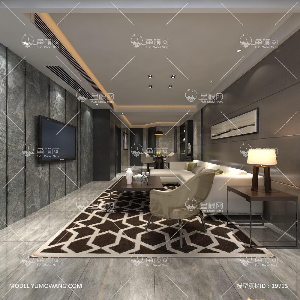 现代简洁大气有格调的客厅673d模型