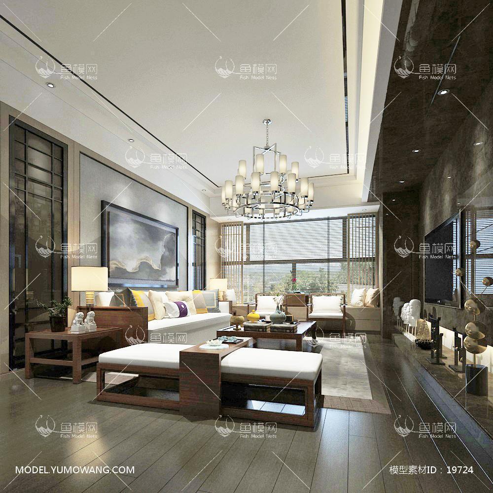 新中式时尚和古韵并存的客厅103d模型