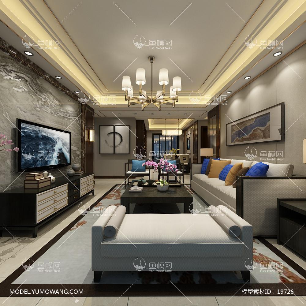 新中式时尚和古韵并存的客厅73d模型