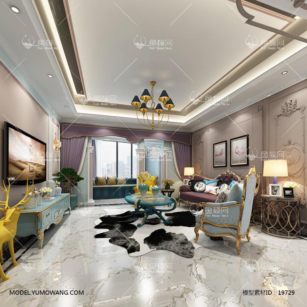 简欧炫光玲珑高大上客厅53d模型