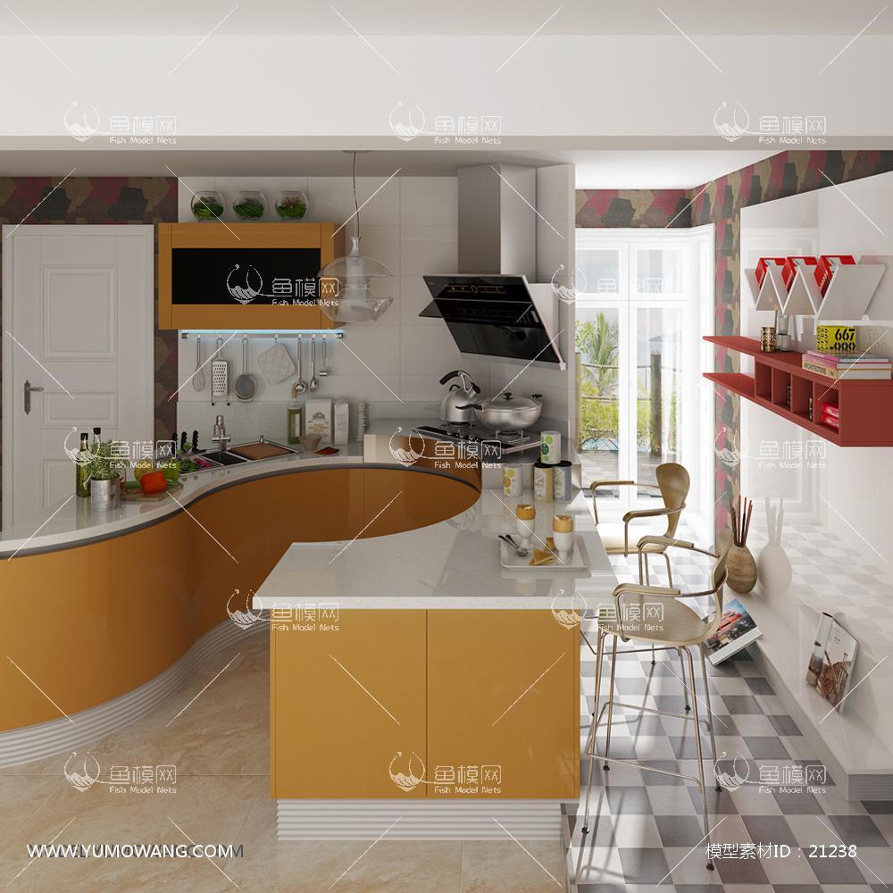 现代简约厨房橱柜3D模型下载-[ID]21238