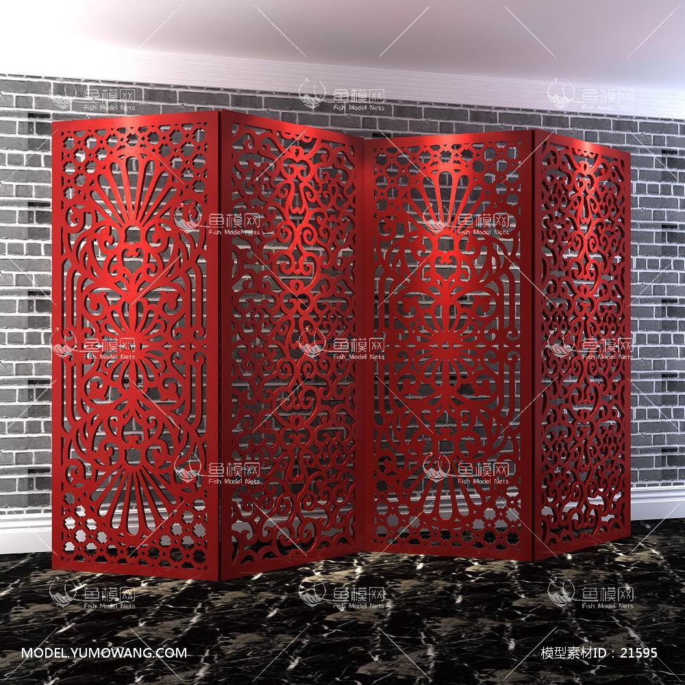 中式隔断屏风 (4)3D模型下载-[ID]21595
