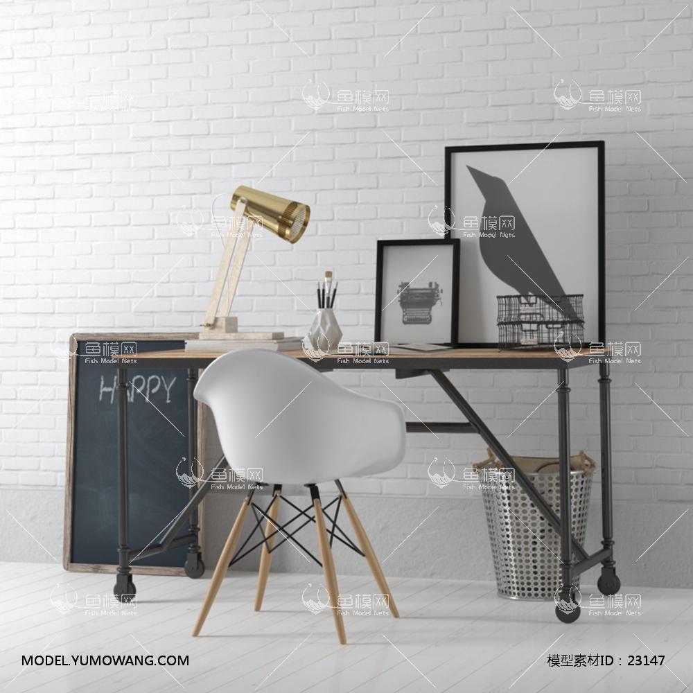 现代实木工作桌 (1)3d模型