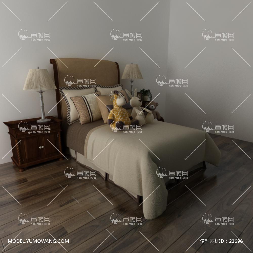 现代简约单人床(11)3D模型下载-[ID]23696