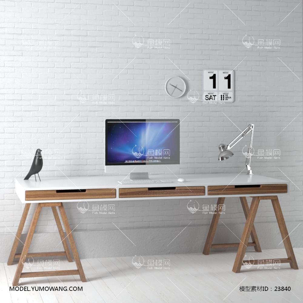 现代实木工作桌3d模型
