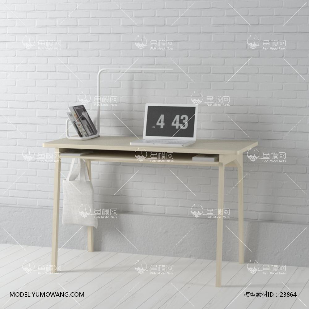 现代实木工作桌 (17)3D模型下载-[ID]23864