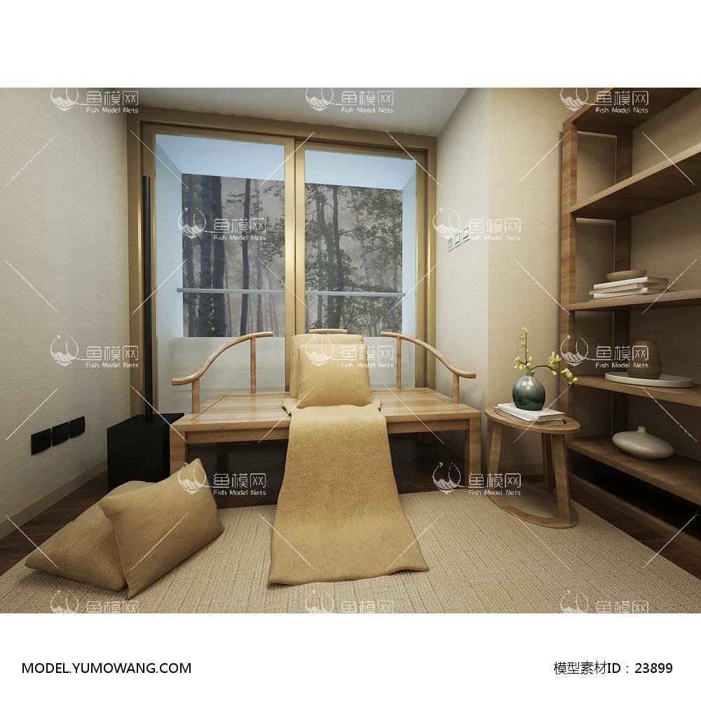 禅意新中式书房一角3D模型下载-[ID]23899