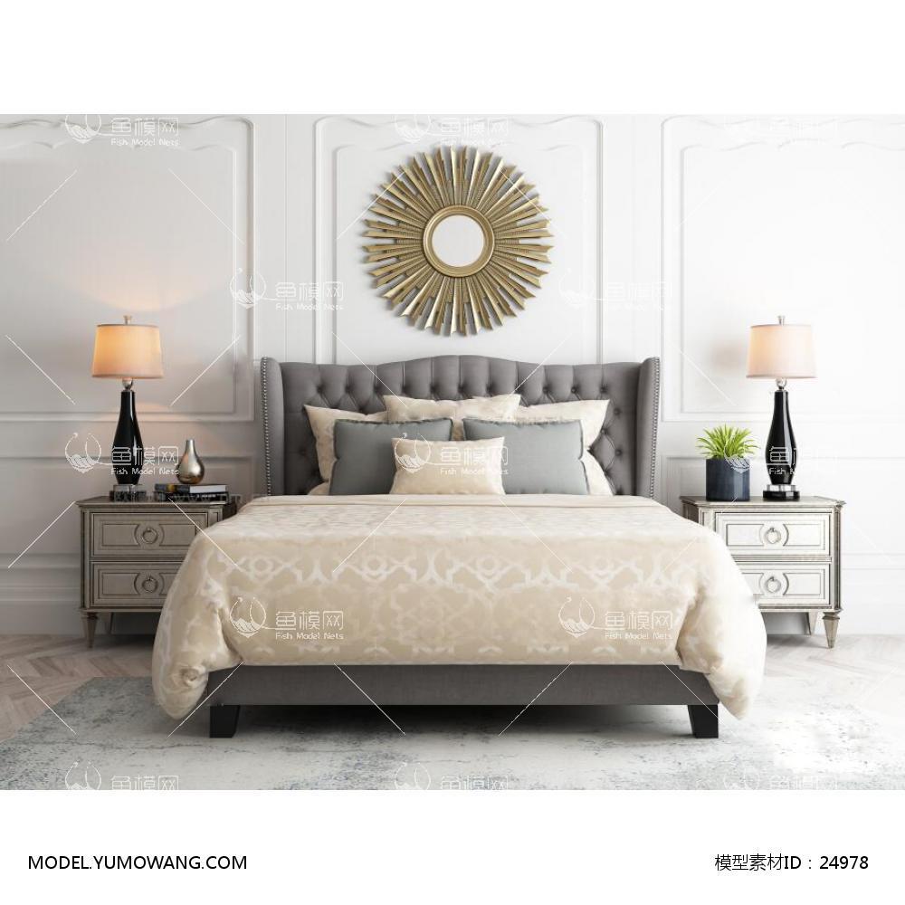 美式双人床床头柜挂件台灯组合3D模型下载-[ID]24978