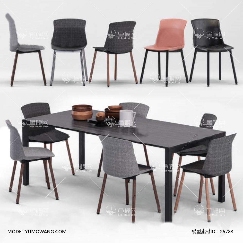 现代北欧餐厅桌椅组合3D模型下载-[ID]25783
